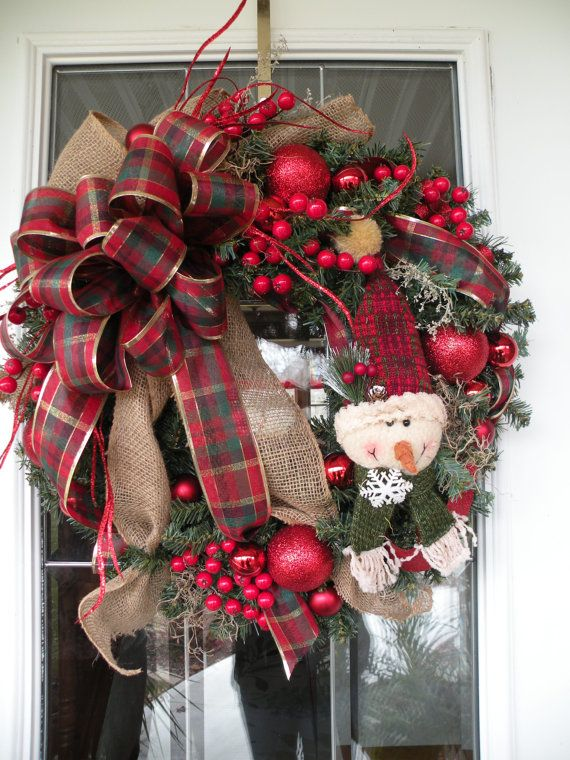 Christmas Wreath, Holiday Wreath, Ready to Ship Wreath, Ready to Ship, Front Door Wreath, Snowman Wreath on Etsy, $79.99