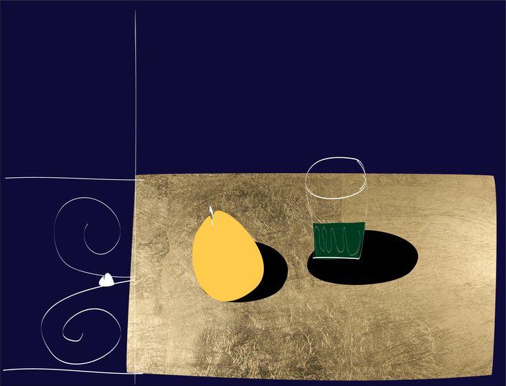 Green Tea and Orange Lemonade. Peter Bainbridge. Silk screened on handmade French cotton paper, with 24ct gold leaf.
