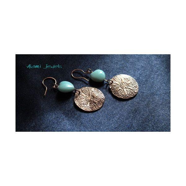 orecchini bronzo ed amazzonite di Alami Jewels su Blomming via Polyvore