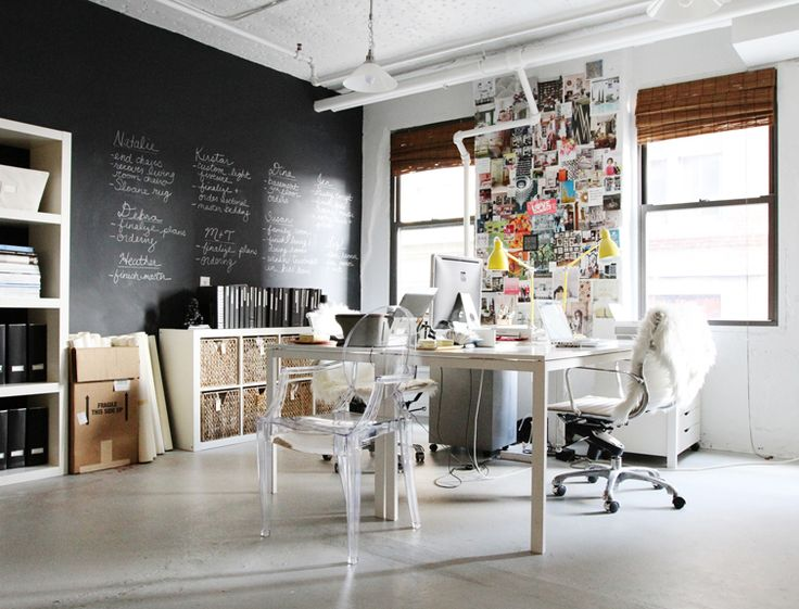 Chalkboard Walls, Chalkboards Painting, Offices Spaces, Work Spaces, Workspaces, Erin Gates, Home Offices, Chalkboards Wall, Offices Wall
