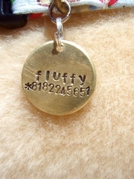 -Unique Handstamped Pet ID Tag Brass Small Dog Cat*