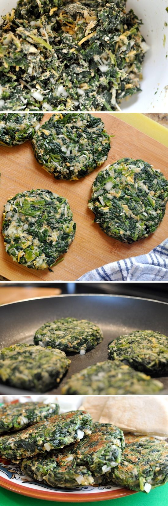 "1 bag of thawed and well drained chopped spinach 2 egg whites 1 whole egg 1/4 c diced onion 1/2 c shredded cheese 1/2 c bread crumbs 1 tsp red pepper flakes 1 tsp salt 1/2 tsp garlic powder Mix well in a bowl, form into patties, Cook for 4-6 minutes each side @ med heat in non-stick skillet, Serve on your choice of bread product, or eat them ""naked""."