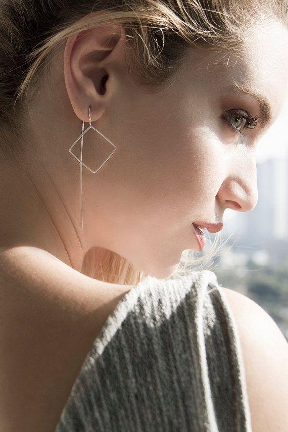 Boucles d'Oreilles Longues Argent - Boucles d'Oreille Pendantes Carrées avec Chaine en Argent - Bijou Délicat Pour Femme