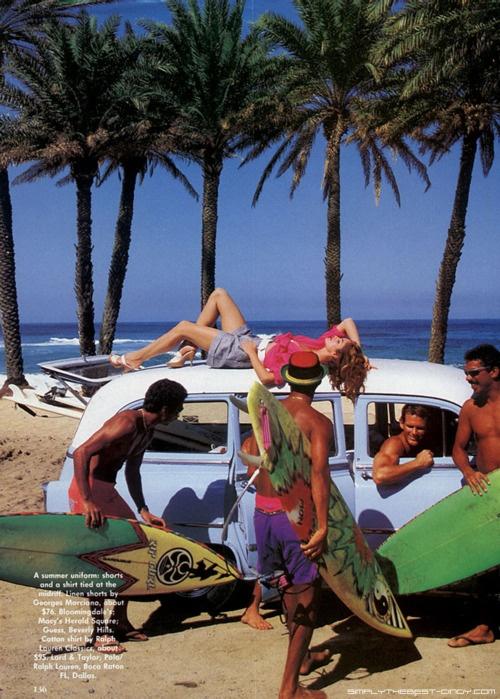"Model: Cindy Crawford  Magazine: Vogue  Editorial: ""Surf's Up"""