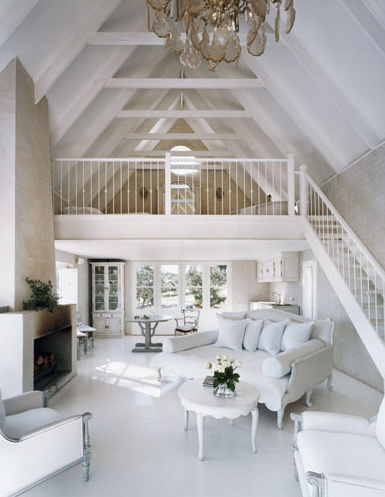 airy all white decor: Living Rooms, Loft Rooms, The Loft, Living Spaces, Open Spaces, White Decor, Loft Spaces, Guest Houses, Little Cottages