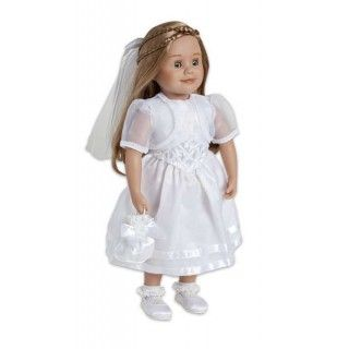 Special Occasion Outfit: This beautiful white dress and accessories would make any girl feel special when celebrating an important occasion. The sleeveless dress is topped with a sheer bolero jacket. Lacy white socks, panties, satin shoes, a drawstring bag and a hair decoration complete the outfit.