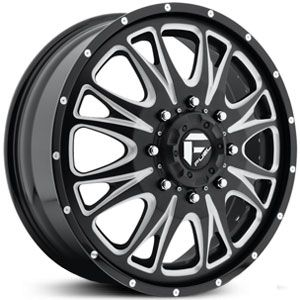 Fuel D213 Throttle Dually  Wheels Black Milled (Front)