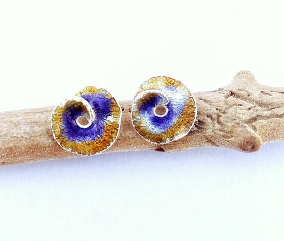Small Spiral Earrings With Enamel And Resin Nautilus Shell