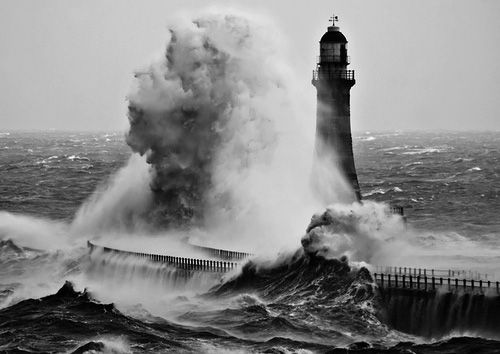 force: Water, Roker Lighthouses, Rockers, Trav'Lin Lights, Blue, Sea, Storms, The Waves, Lights Houses
