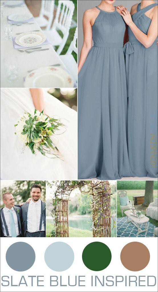 Hues You'll Love: Slate Blue Bridesmaid Dresses   Slate Blue Wedding Color Palette