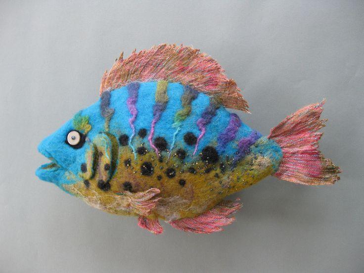 Tropical felt fish, amazing needle felt creation by Deborah C. Pope
