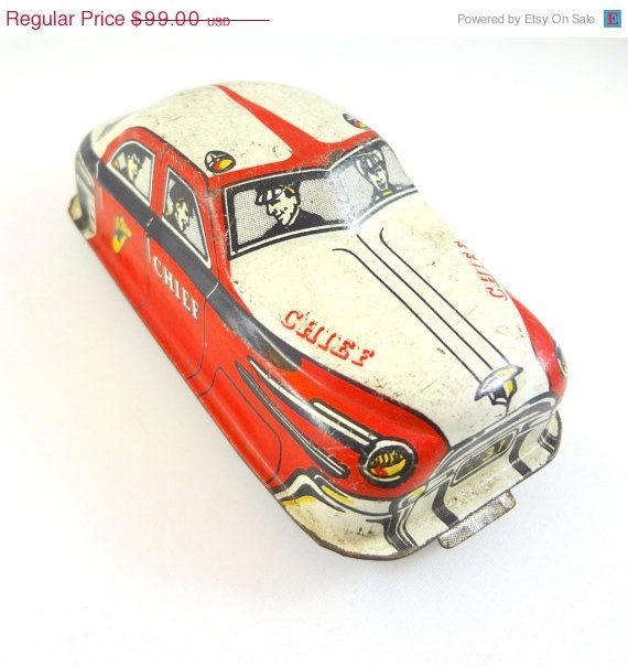 Sale Vintage Litho TIN Friction Toy CAR by RighteousRecycling
