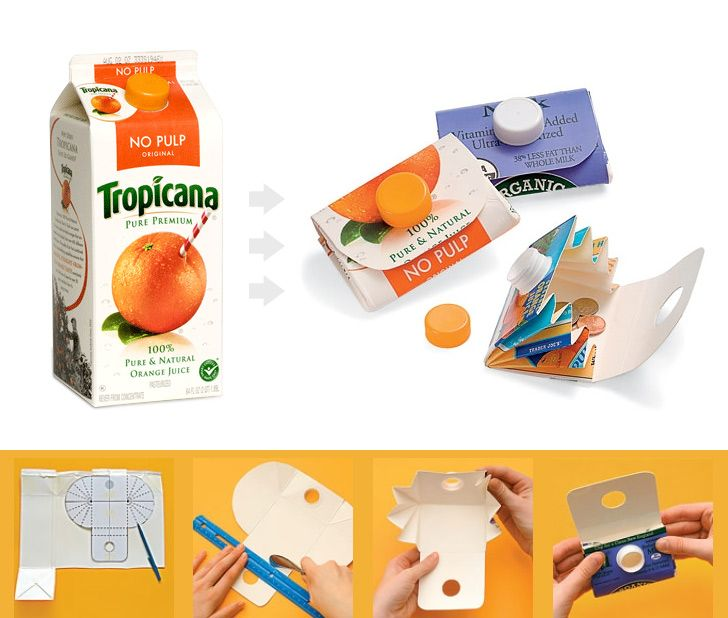 Upcycle milk or orange juice carton into ingenious carrying case for change.