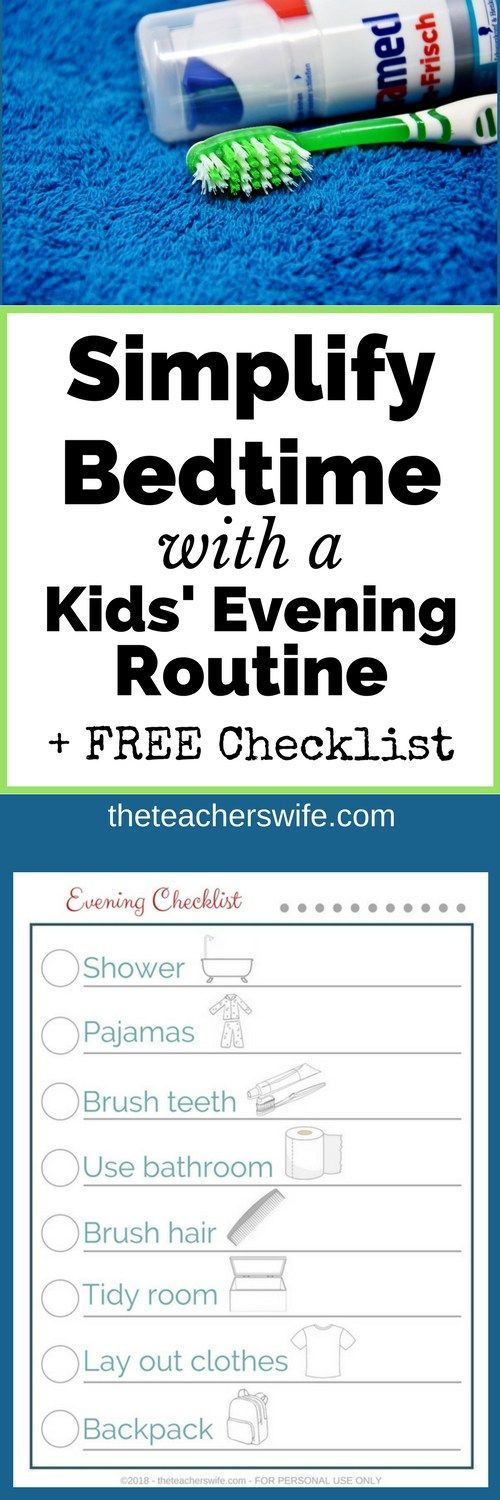 Bedtime doesn't have to be a stressful, mad rush with tantrums and meltdowns. Make bedtime easier with a kids' evening routine! Don't forget to print your own checklist!