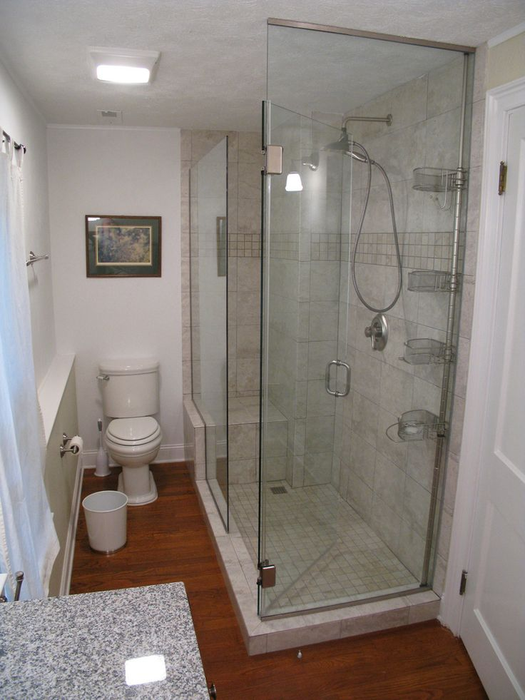 Bathroom Adorable Small Bathroom Remodeling Idea With Brown Hardwood Floor  Tile White Closet   Pictures, Photos, Images