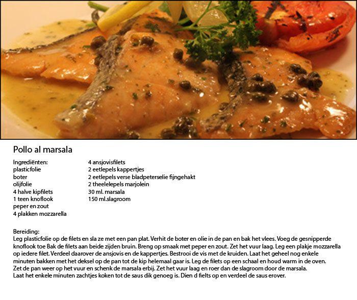 Pollo al marsala - Menu - Vooraf tilapiapaté met gerookte forel, Hoofd: Pollo al Marsala, gebakken aardappeltjes met rozemarijn en knoflook, Courgettesalade met broccolipesto, Dessert: Roomijs met frambozen