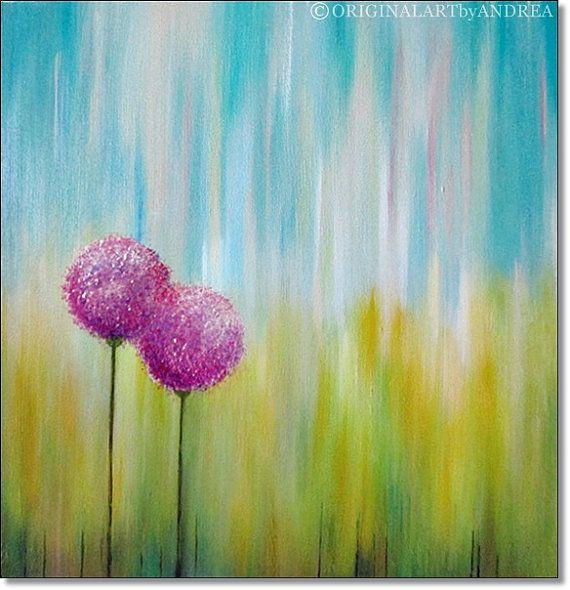 Acrylic Painting Canvas Art Abstract CONTEMPORARY ART ORIGINAL Textured Floral Landscape Turquoise Green Purple 24x24x1,5 (60cmx60cmx3,6cm)