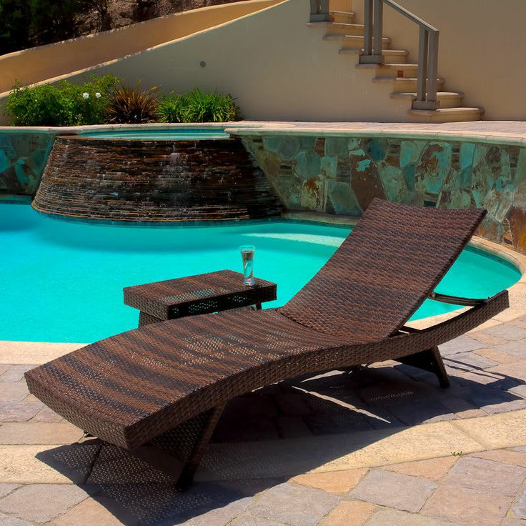 Elegant Christopher Knight Home Outdoor Brown Wicker Adjustable Chaise Lounge And  Table Set