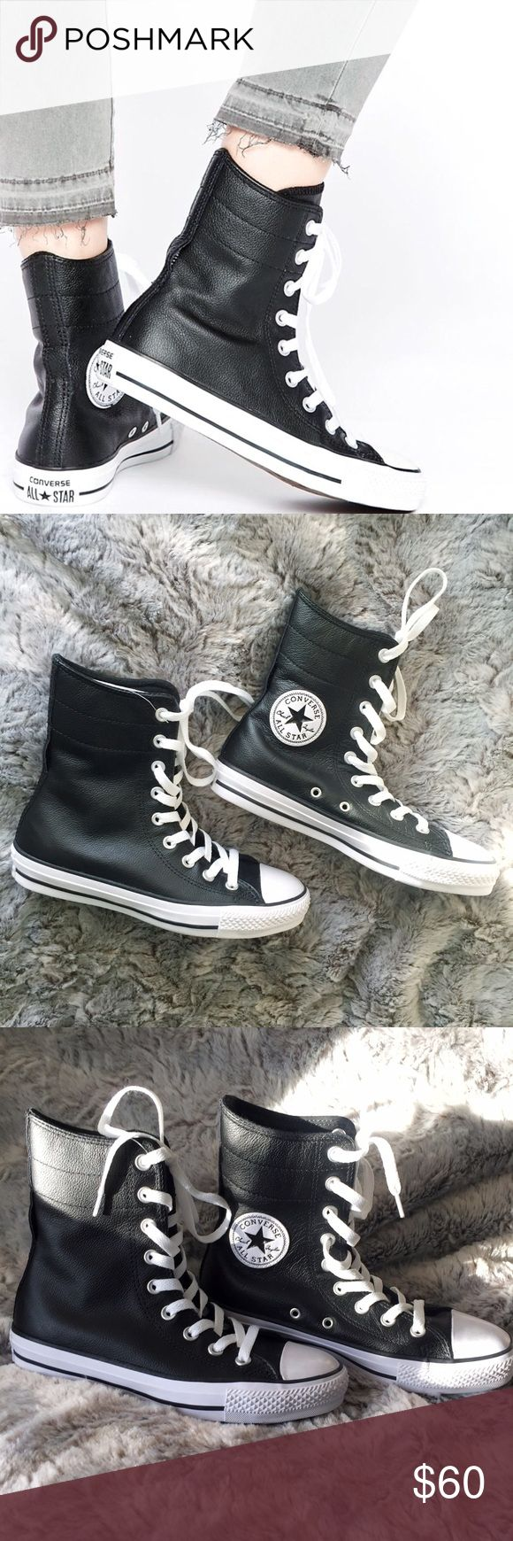 Converse Chuck Taylor Leather Hi Rise Sneakers Brand new without tags or box, women's size 6.5. These Converse Chuck Taylor Hi Rise Sneakers are made with a gorgeous black leather. Easy to pair with any outfit! You can lace these all the way up, or wrap the laces  midway through the loop in the back. Converse Other