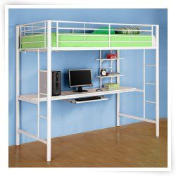 sunset workstation loft bed white