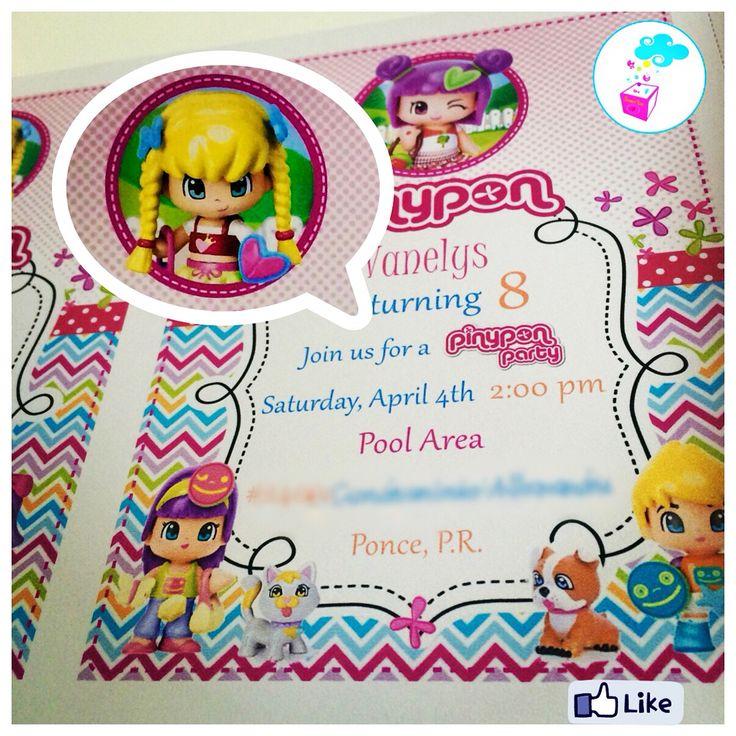 Birthday invitations Pinypon theme www.myshowerbox.com