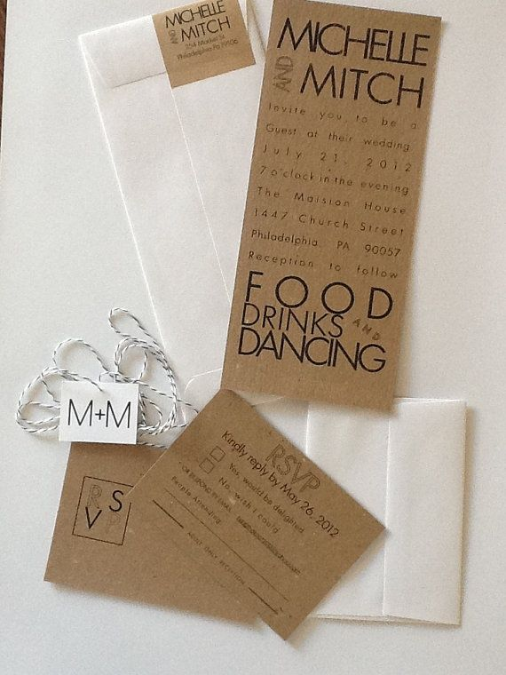 cute inviations, i like the way they did the text- food, drinks and dancing i would do this for a new years eve party