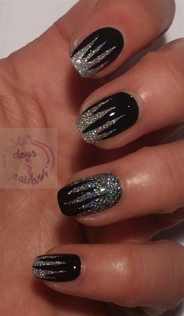 Glittery Black Nail Art