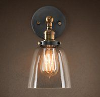 20th C. Factory Filament Glass Cloche Sconce - Aged Steel