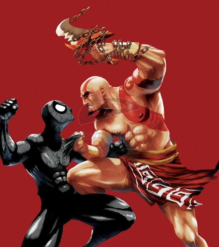 God of War VS Black Spidey by adipatijulian