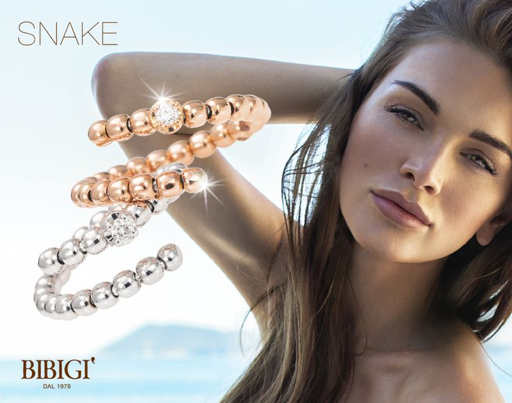 Anello / Ring Sinuosi e brillanti avvolgono dita e polsi. Sono gli anelli e i bracciali della collezione Snake di Bibigì, gioielli a forma di serpente in oro bianco, giallo e rosa impreziositi da diamanti bianchi, brown e rubini.