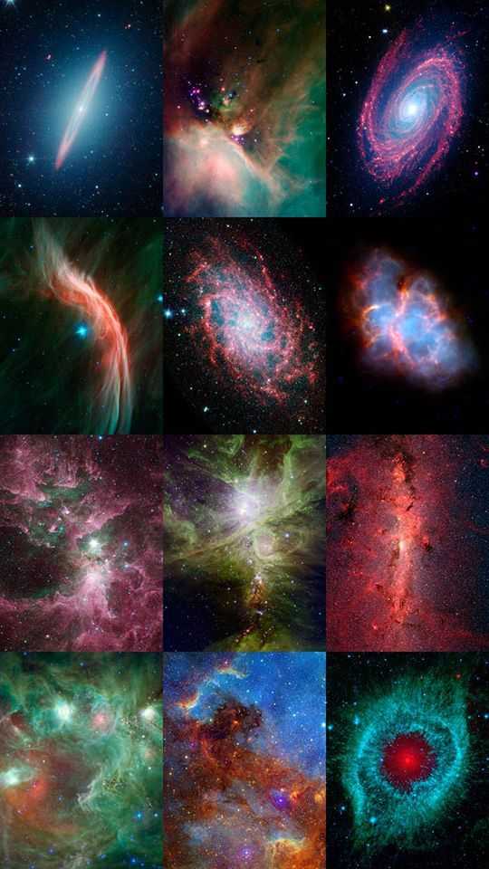 Twelve Years of Spitzer Images  This montage displays an image released from each year of operation of NASA's Spitzer Space Telescope. Now celebrating it's 12th anniversary, Spitzer was first launched into space on August 25, 2003, from Cape Canaveral, Florida and is still going strong.  Credit NASA/JPL-Caltech
