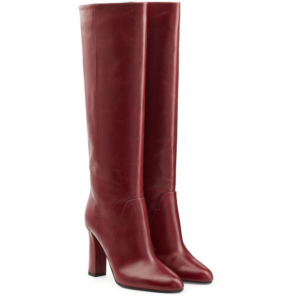 Diane von Furstenberg Leather Knee Boots ($390) ❤ liked on Polyvore featuring shoes, boots, heels, обувь, red, heel boots, leather shoes, knee high boots, red leather boots and red shoes