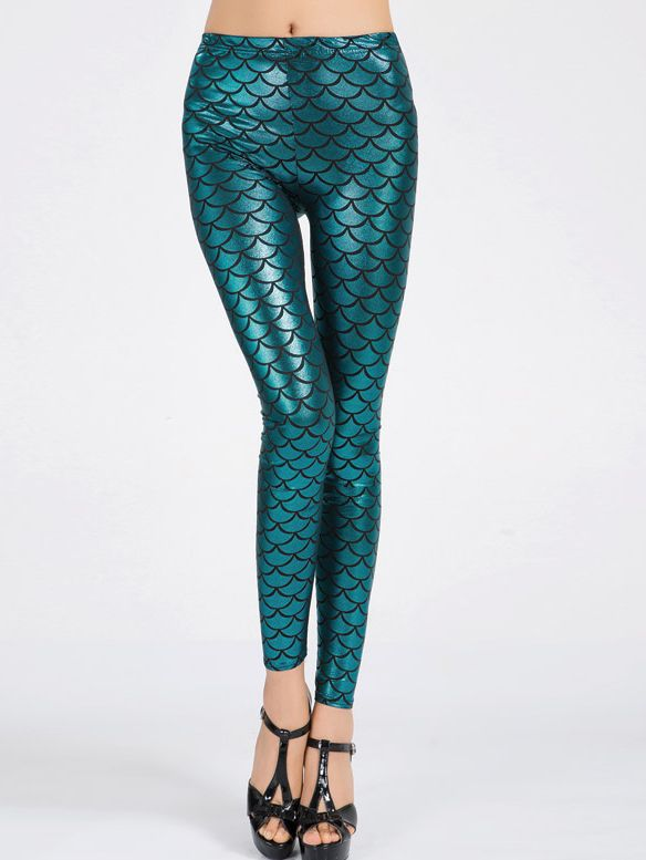 Leggings écaille de poisson - Vert-French SheIn(Sheinside)