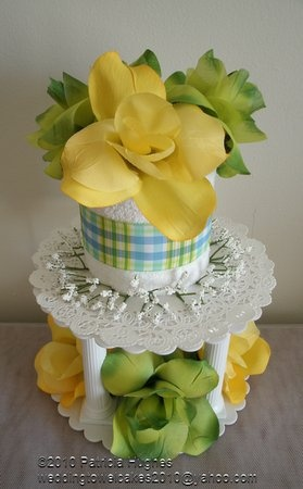 Towel Wedding Cake Centerpiece | Wedding, Cake, White, Centerpiece, Yellow, Wedding shower towel cakes ...