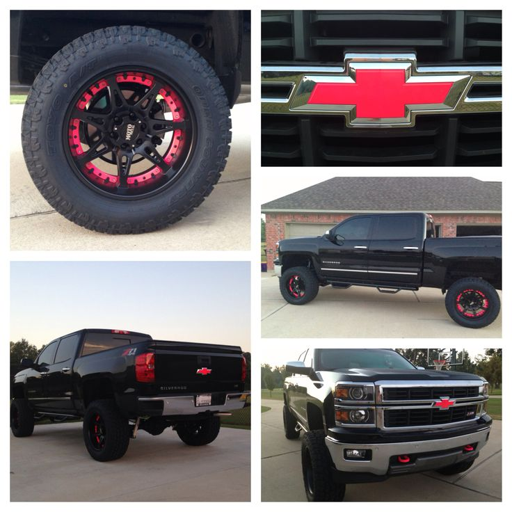"2014 Chevy Silverado 6"" lift Moto Metal rims Hot Pink"