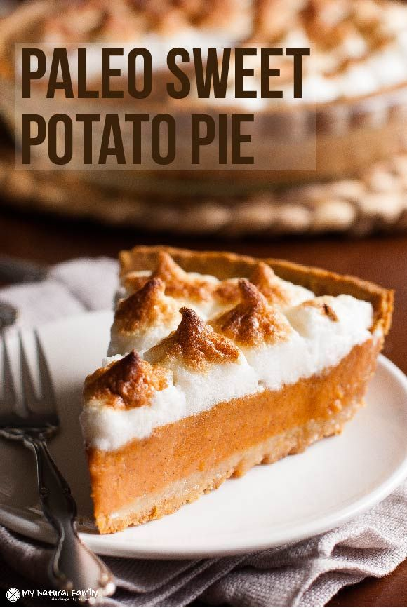 This Paleo sweet potato pie recipe has an awesome crust. I did a mix of almond flour and tapioca starch and it ended up being the perfect flaky texture.