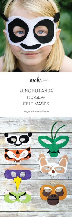 Is your kid (or you!) obsessed with Kung Fu Panda 3? Make these no-sew felt masks! There's Po, Tigress, Viper, Crane, Mantis, Monkey, and of course, Master Shifu. So fun for a Kung Fu Panda birthday party, too! Templates and instructions included.