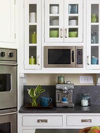 Kitchen - organization - BHG.com: Kitchens Remodel, Small Appliances, Glasses Front Cabinets, Glasses Doors, Granite Countertops, Kitchens Cabinets, Black Hone, White Kitchens, Cabinets Doors