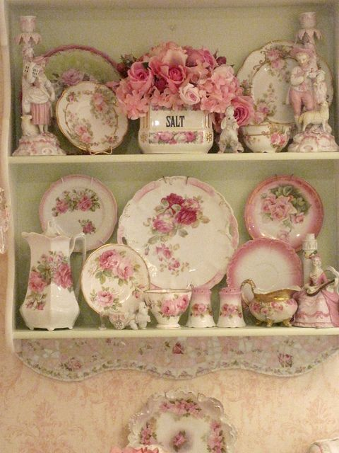 Pretty dish display on large hanging wall shelf!!! can hang more than one wall shelf depending of course on size of the wall and the shelf units!!: Shabby Chic, Cottage, Dishes, Pretty Dish, Pink Rose, Kitchen, Vintage Rose, Shabbychic, China