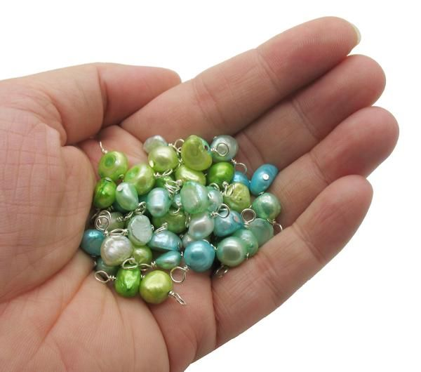 Freshwater Pearl Charms Blue Aqua Green Pretty Pearl Dangle Charms Pearl Charms Pearl Dangles Freshwater Pearls