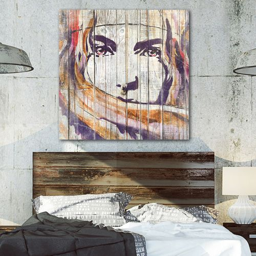 Tableau bois street-art regard de femme