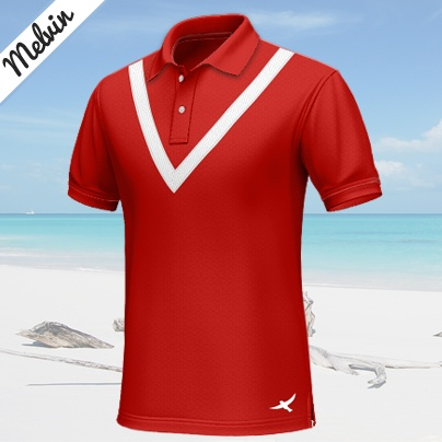 Melvin    Casual red polo shirt with short sleeves, 100% cotton...    A red custom polo shirt, which transmits freshness and youth. It has a white stripe around the collar, which reminds of the ribbon of a medal, and a bird logo at the left side. An option for being different at informal events. http://www.tailor4less.com/en/collections/custom-polo-shirts/endless-summer/melvin