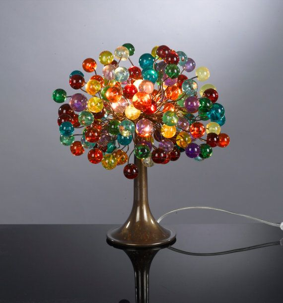 A beautiful decorative table lamp with shades made of a bunch of multicolored bubbles in different sizes. The table lamp is handmade from polyester balls attached to a bronze leg. The table lamp is elegant, unique and creates a warm and rich atmosphere. It can decorate your bedroom, living room or even your childs room.  ¨¨¨¨¨¨¨¨¨¨¨¨¨°º©©º°¨¨¨¨¨¨¨¨¨¨¨¨°º©©º°¨¨¨¨¨¨¨¨¨¨¨¨  * The table lamp is at the height of 13.5 * BRONZE elegant leg at the height of 9 * Lamp shade at the size of 11 diameter…