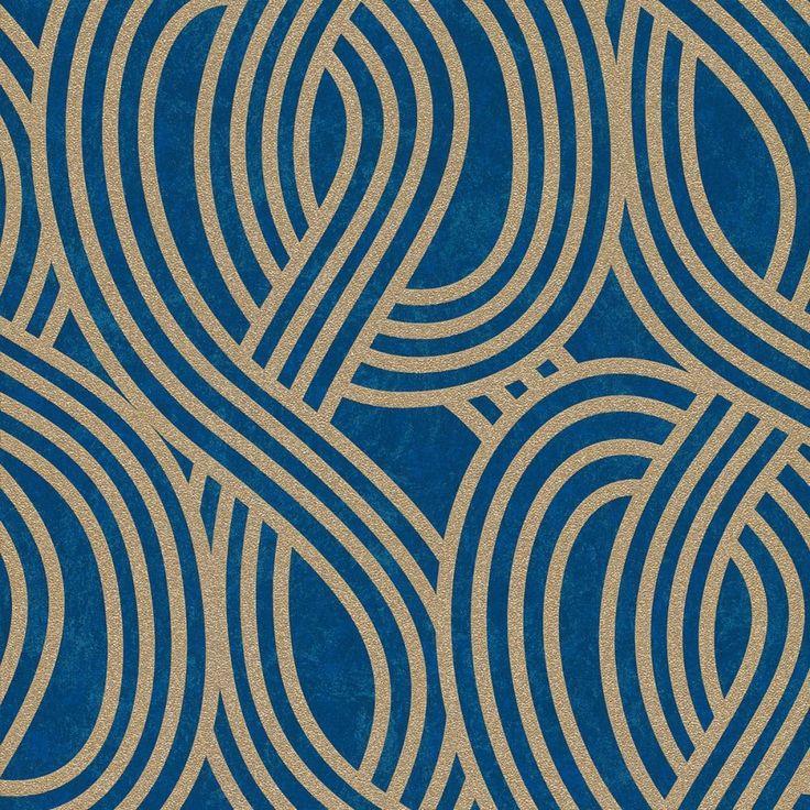 Carat Geometric Glitter Wallpaper Gold and Blue P+S 13345-50