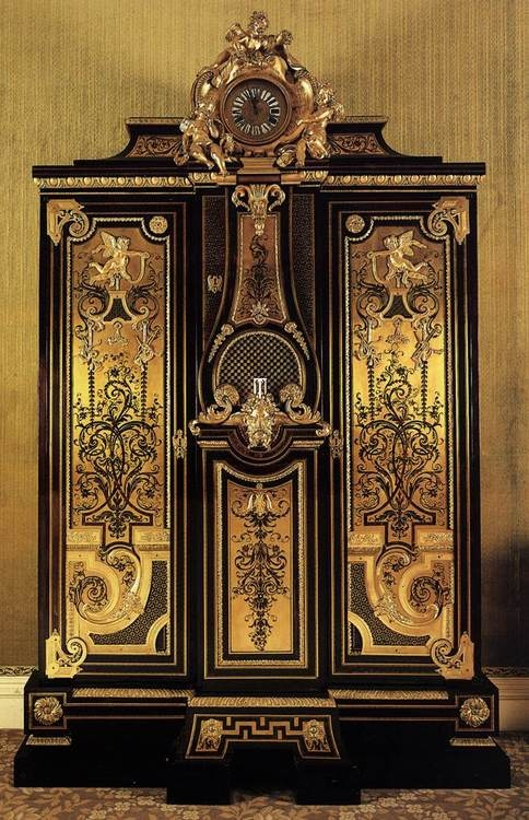 Andre Charles Boulle wardrobe and clock 1715 Wallace Collection, London, United Kingdom