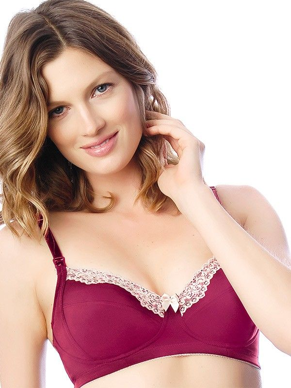 HOTmilk Mode Nursing Bra in Cerise from breastmates.co.nz -- An underwire-free breastfeeding bra made from luxurious microfibre with contrast lace detailing, this maternity wardrobe staple is cotton-lined with an internal side sling for support while breastfeeding.