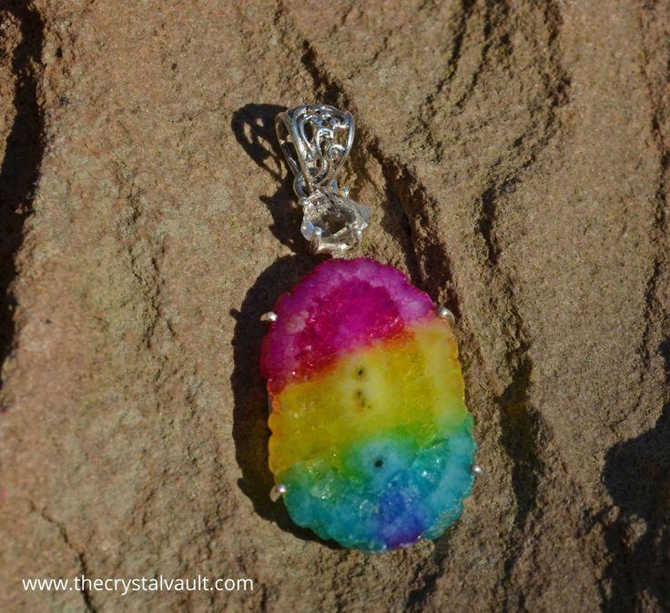 Dyed Solar Quartz & Herkimer Diamond Sterling Silver Pendant