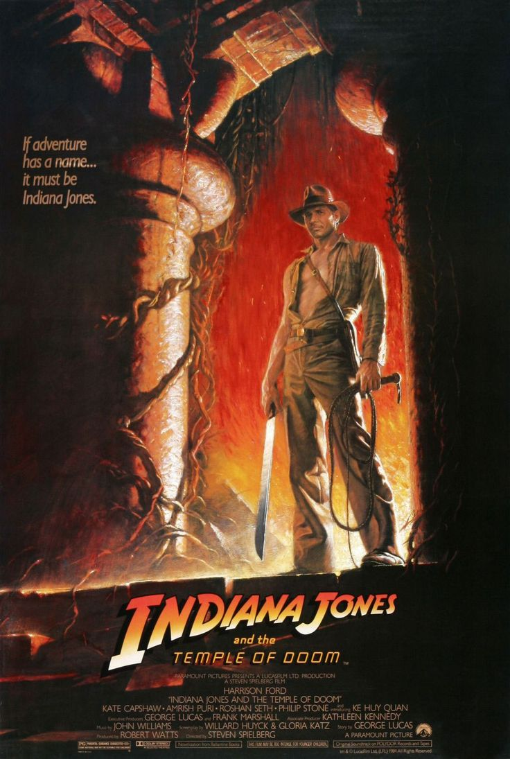 Indiana Jones and the Temple of Doom , starring Harrison Ford, Kate Capshaw, Jonathan Ke Quan, Amrish Puri. After arriving in India, Indiana Jones is asked by a desperate village to find a mystical stone. He agrees, and stumbles upon a secret cult plotting a terrible plan in the catacombs of an ancient palace. #Action #Adventure