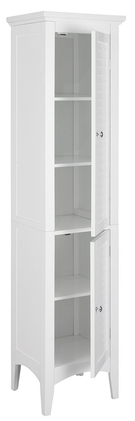 elegant home fashions slone linen tower with 2 shutter doors bathroom wall cabinets and shelves
