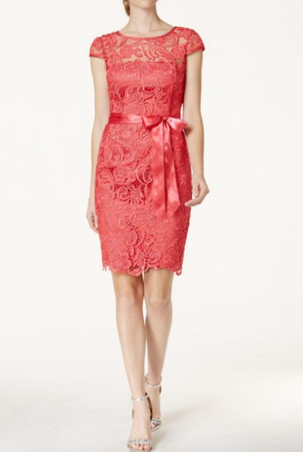 Adrianna Papell Cap Sleeve Illusion Lace Dress French Coral ...